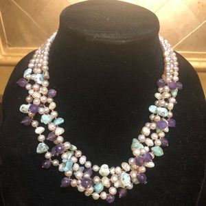 Jewelry - ⭐️ Larimar, Pearl, & Amethyst 4 Strand Necklace